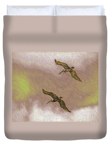 Pelicans On Cave Wall Duvet Cover