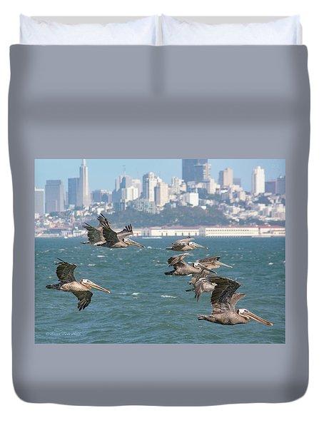 Pelicans Over San Francisco Bay Duvet Cover