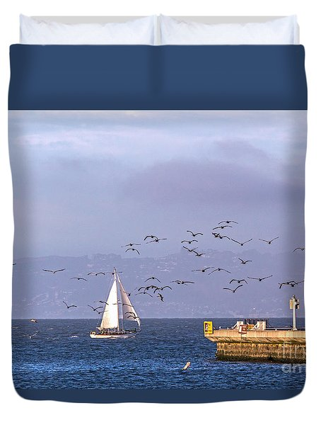 Duvet Cover featuring the photograph Pelicans Pelicans by Kate Brown