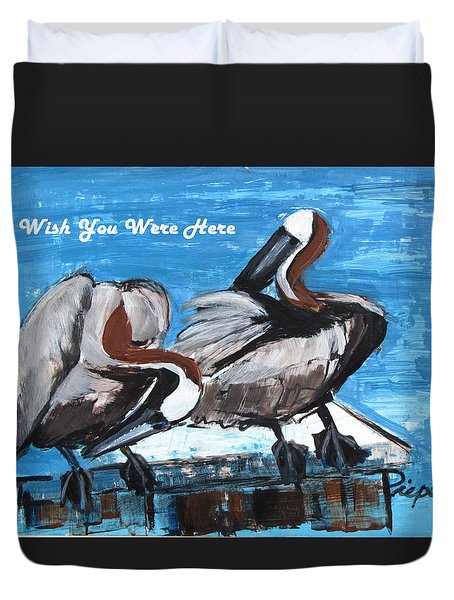 Pelicans Up Close And Personal Duvet Cover by Betty Pieper