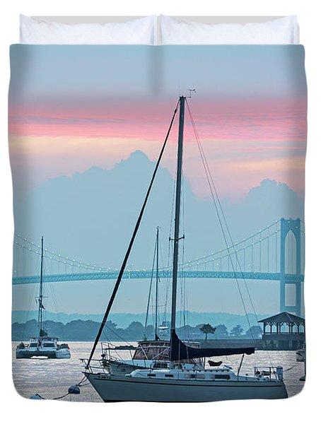 Pell Bridge Newport Harbor Newport Ri Rhode Island Purple Sunset Duvet Cover