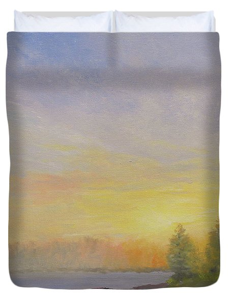 Pemaquid Beach Sunset Duvet Cover