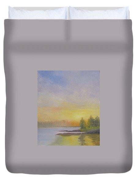 Pemaquid Beach Sunset Duvet Cover