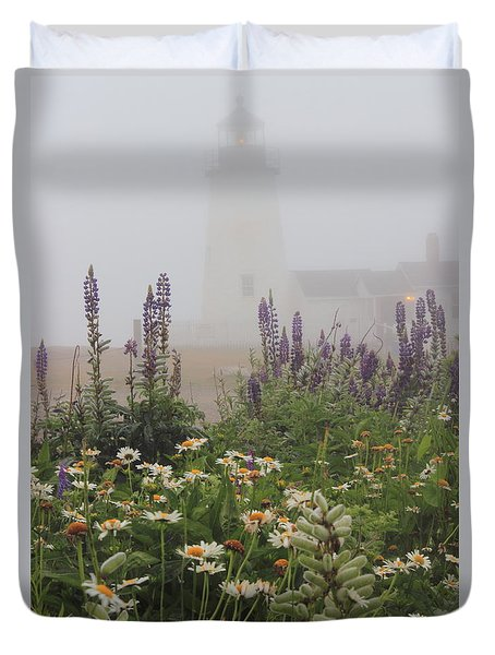 Pemaquid Point Lighthouse Lupines And Flowers In Fog Duvet Cover