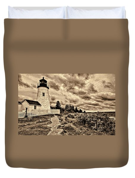 Pemaquid Point Lighthouse Stormy Autumn Day Sepia Antique Distressed Duvet Cover