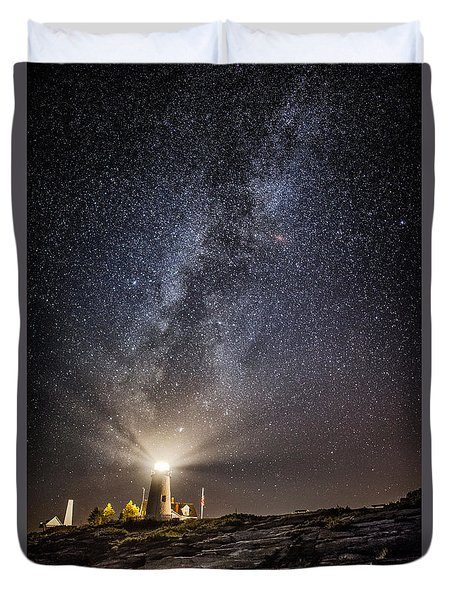 Duvet Cover featuring the photograph Pemaquid Point Milky Way by Robert Clifford