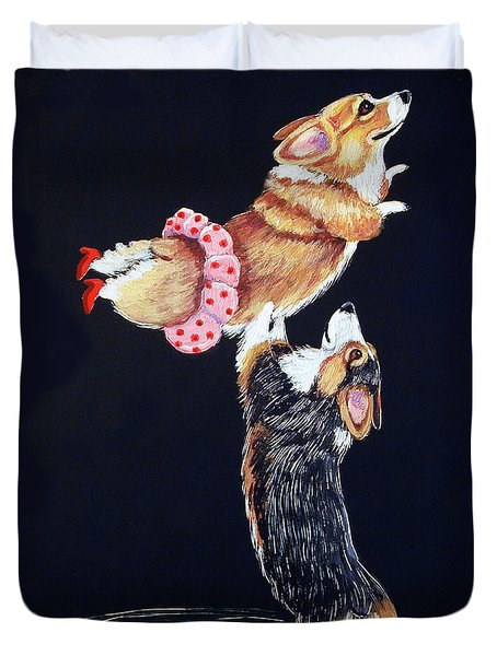 Pembroke Welsh Corgi Her Red Shoes Duvet Cover by Lyn Cook