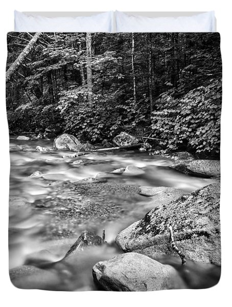 Pemi River Black-white Duvet Cover by Michael Hubley