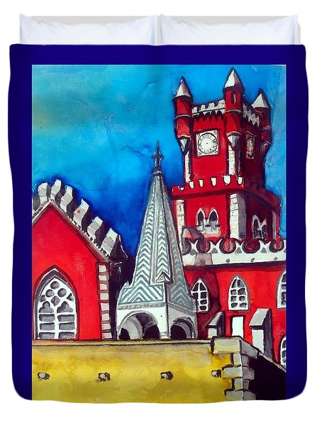 Pena Palace In Portugal Duvet Cover