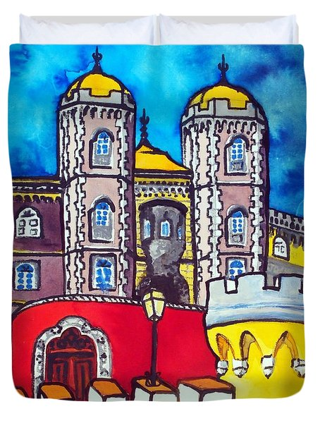 Duvet Cover featuring the painting Pena Palace In Sintra Portugal  by Dora Hathazi Mendes