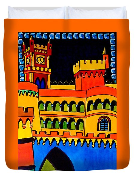 Duvet Cover featuring the painting Pena Palace Portugal by Dora Hathazi Mendes