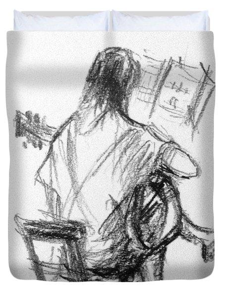 Pencil Sketch Duvet Cover