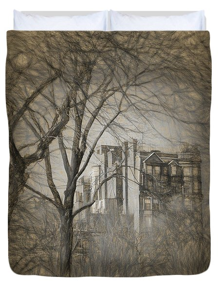 Pencil Sketch Of Beacon Hill Duvet Cover