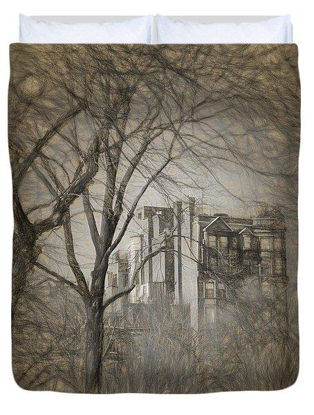 Pencil Sketch Of Beacon Hill Duvet Cover