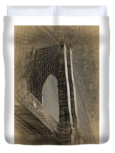 Pencil Sketch Of The Brooklyn Bridge Duvet Cover