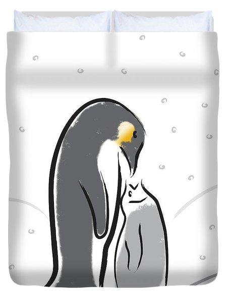 Penguin Feeding Duvet Cover