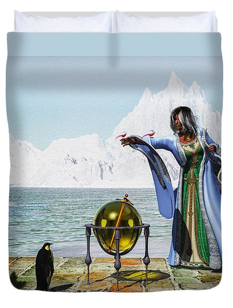 Penguin Magic And The Winter Witch Duvet Cover by Bob Orsillo