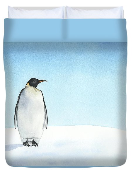 Duvet Cover featuring the painting Penguin Watercolor by Taylan Apukovska