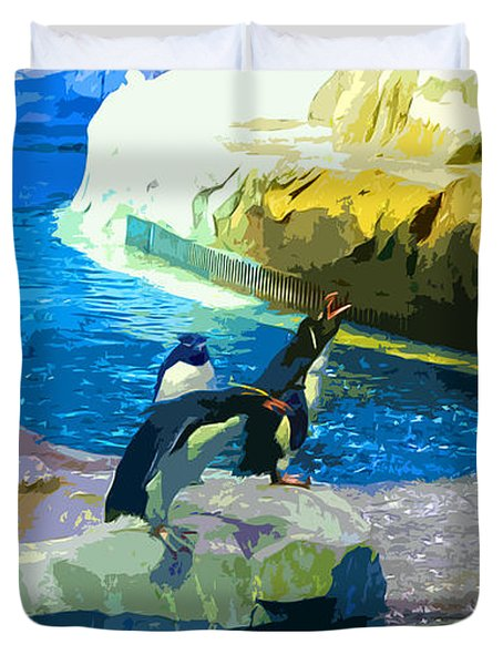 Penguins At The Zoo Duvet Cover