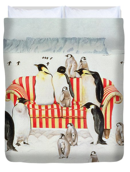 Penguins On A Red And White Sofa  Duvet Cover
