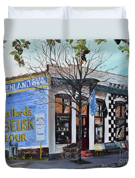 Duvet Cover featuring the painting Penland Bros Store - Ellijay Georgia - Historical Building by Jan Dappen