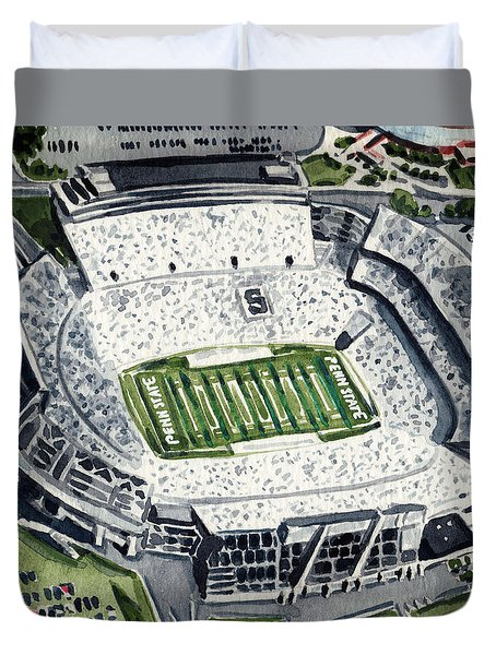Penn State Beaver Stadium Whiteout Game University Psu Nittany Lions Joe Paterno Duvet Cover by Laura Row