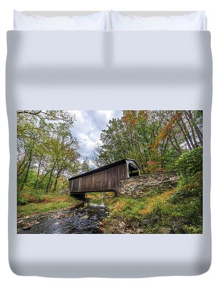 Pennsylvania Covered Bridge In Autumn Duvet Cover