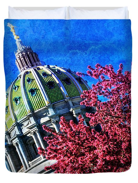 Duvet Cover featuring the photograph Pennsylvania State Capitol Dome In Bloom by Shelley Neff