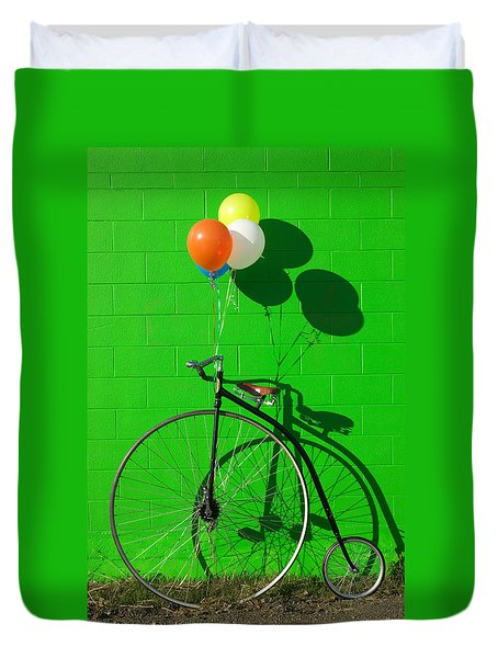 Penny Farthing Bike Duvet Cover by Garry Gay