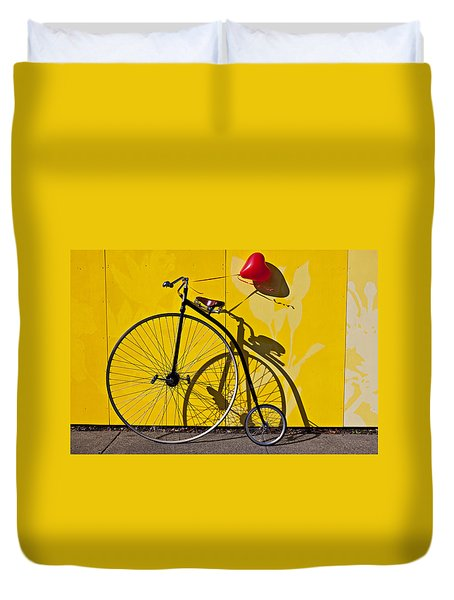 Penny Farthing Love Duvet Cover by Garry Gay