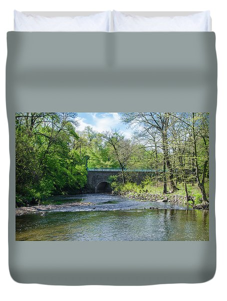 Duvet Cover featuring the photograph Pennypack Creek Bridge Built 1697 by Bill Cannon