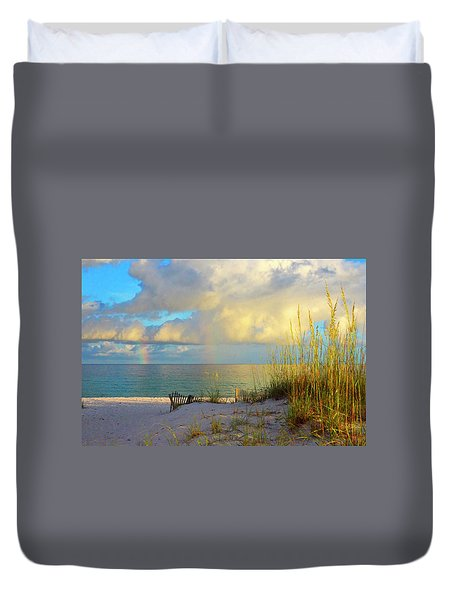 Pensacola Rainbow At Sunset Duvet Cover by Marie Hicks
