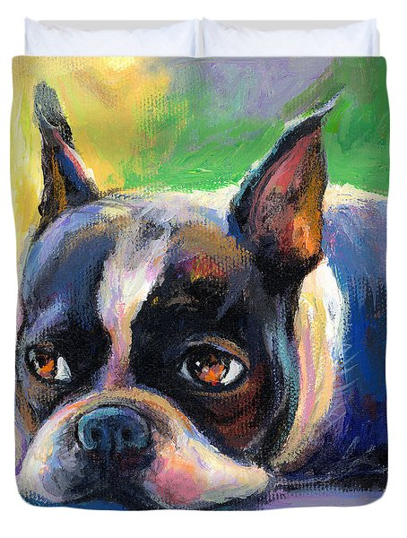Pensive Boston Terrier Dog Painting Duvet Cover