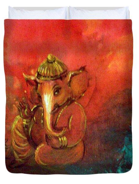 Pensive Ganesha Duvet Cover