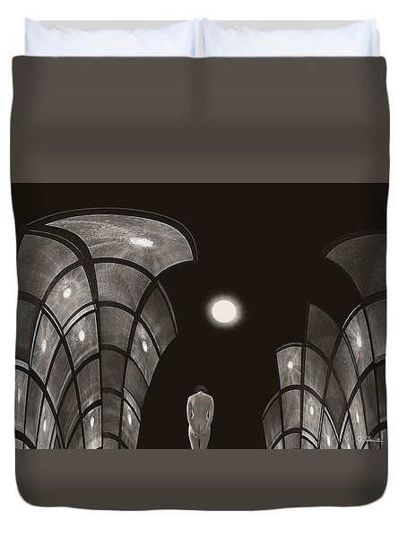 Duvet Cover featuring the photograph Pensive Nude In A Surreal World by Joe Bonita