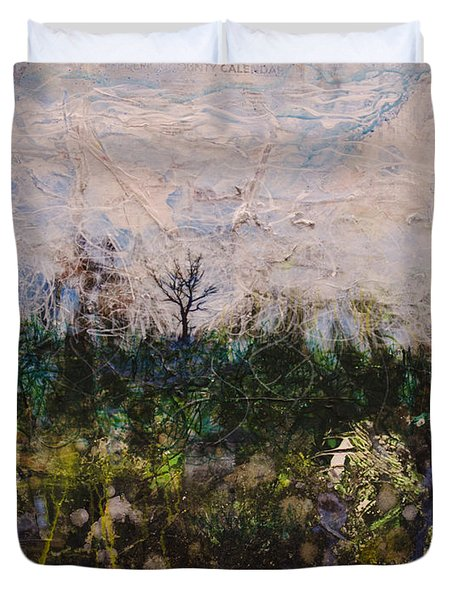 Duvet Cover featuring the painting Pentimento by Ron Richard Baviello