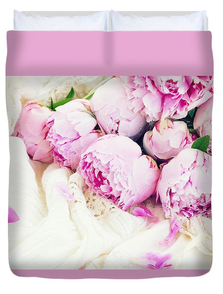 Peonies And Wedding Dress Duvet Cover