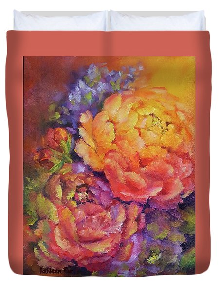 Peonies At Sunset Duvet Cover