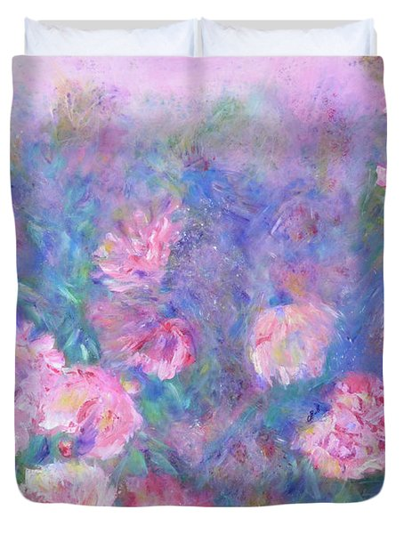 Duvet Cover featuring the painting Peonies by Claire Bull