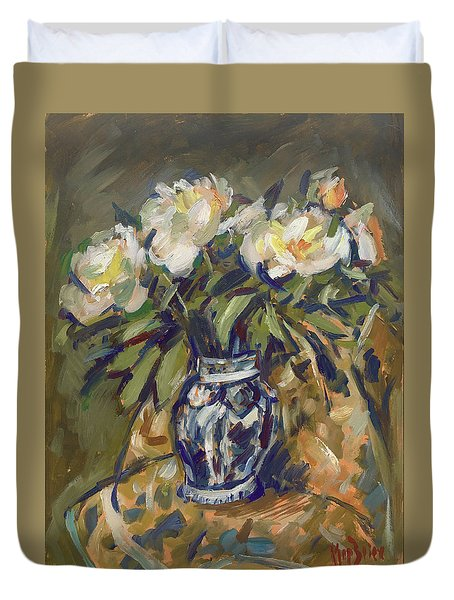Peonies In Delft Blue Vase On Quilt Duvet Cover