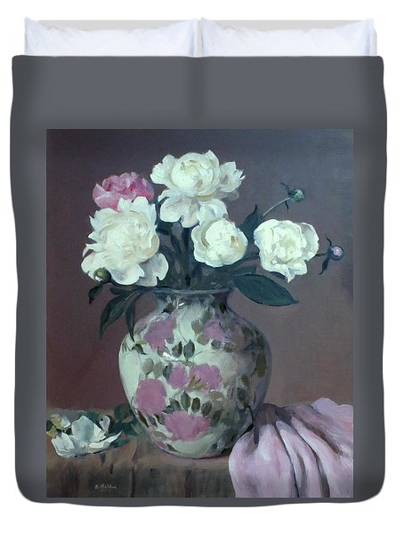 One Pink And Four White Peonies,lavender Cloth  Duvet Cover