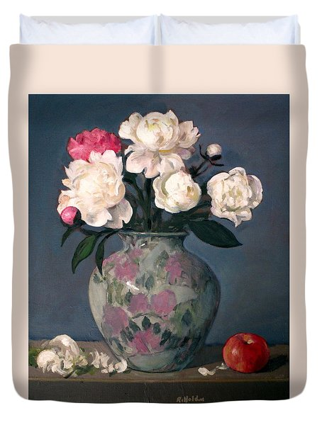 Peonies In Floral Vase With Red Apple Duvet Cover