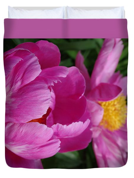Peonies In Pink Duvet Cover by Rebecca Overton