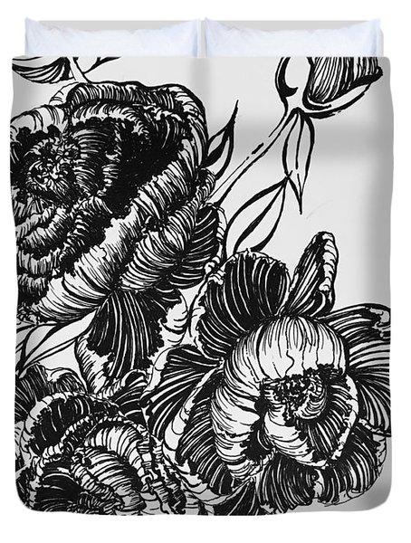 Peonies Line Drawing Duvet Cover