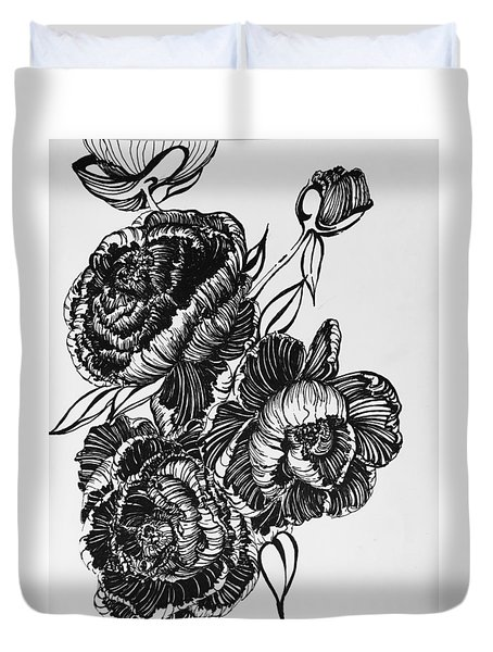 Peonies Line Drawing Duvet Cover