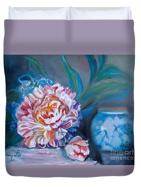 Duvet Cover featuring the painting Peony And Chinese Vase by Jenny Lee
