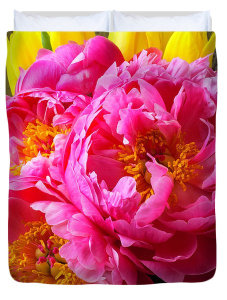 Peony And Tulips Duvet Cover