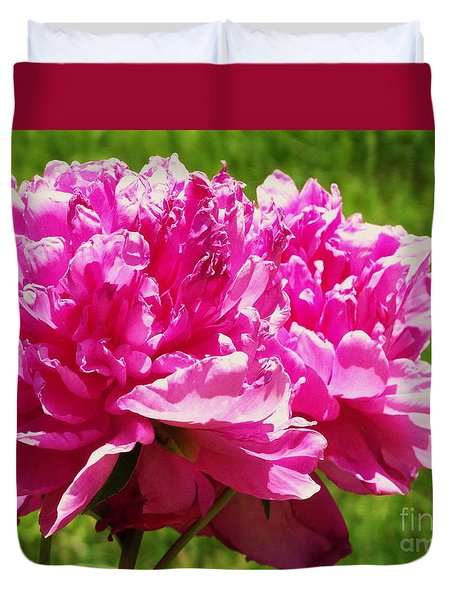 Duvet Cover featuring the photograph Peony Blossoms by J L Zarek