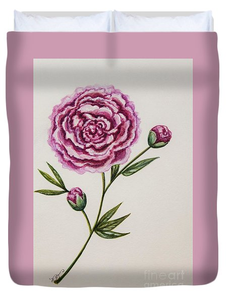 Duvet Cover featuring the painting Peony Botanical by Elizabeth Robinette Tyndall