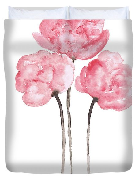 Peony Bouquet Anniversary Woman Art Print, Pink Paper Flower Watercolor Painting Duvet Cover